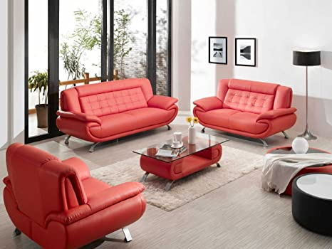 Amazon.com: Divani casa 2906 – moderno juego de sofá de piel ...