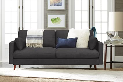 Elle Decor Alix Sofa, Chenille, Charcoal