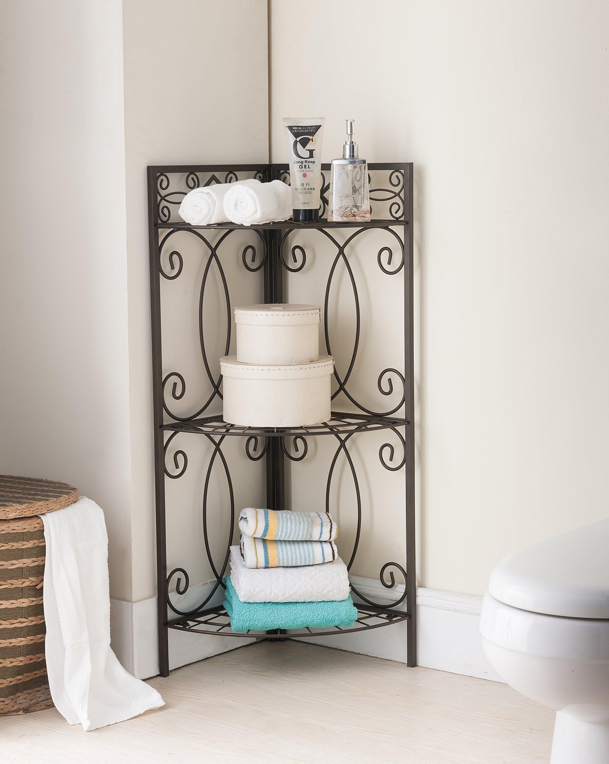 Kings Brand Furniture Metal 3 Tier Shelf Free Standing Corner Bathroom Towel Rack Organizer Stand, Pewter