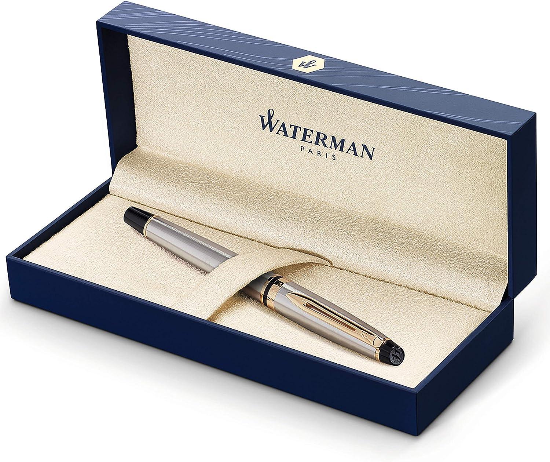Waterman Expert pluma estilográfica, acero inoxidable con adorno de oro de 23quilates, plumín mediano con cartucho de tinta azul, estuche de regalo