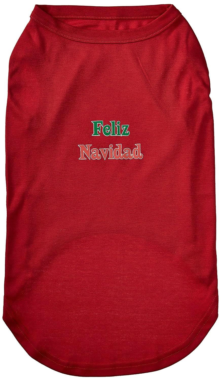 Dog   Cat   Pet Charms Feliz Navidad Screen Print Shirts Red XXXL(20)