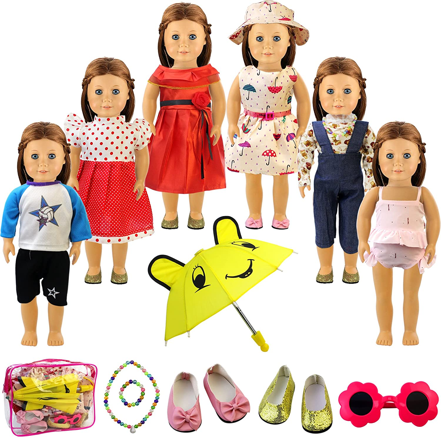 Holicolor 13pcs American Girl Doll Clothes Dress Outfits Wardrobe Makeover, Including 6 Complete Outfits, Fits 18 Doll Clothes (13PCS)