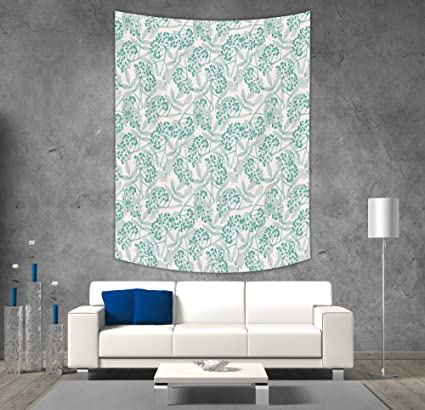 IPrint Polyester Tapestry Wall Hanging,Teal,Classic Botanical Pattern With  Creeper Leaves And Berries