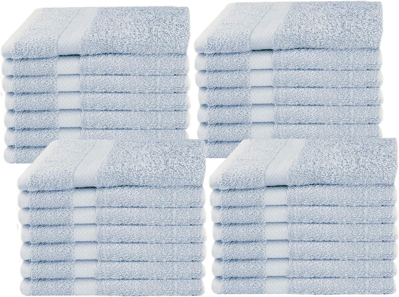 COTTON CRAFT Simplicity Ringspun Cotton Set of 28 Lightweight Washcloths, 12 inch x 12 inch, Light Blue