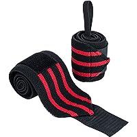 Ultrasport 331500000693 Polsbandage, Zwart/Rood, 2 X 65 Cm Polsbandage Voor Fitness, Bodybuilding, Krachtsport…
