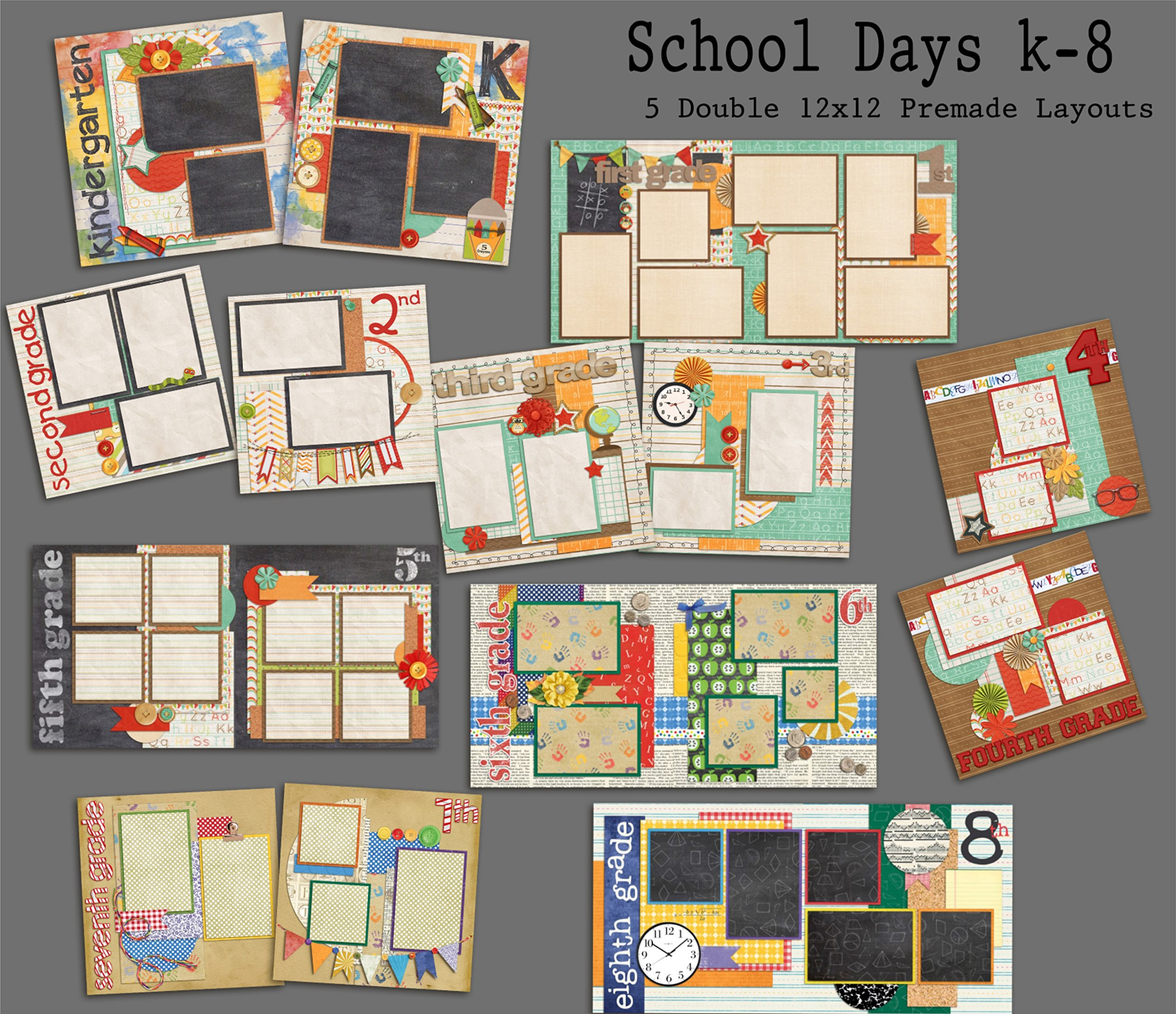 School Days K-8 Scrapbook Set - 9 Double Page Layouts