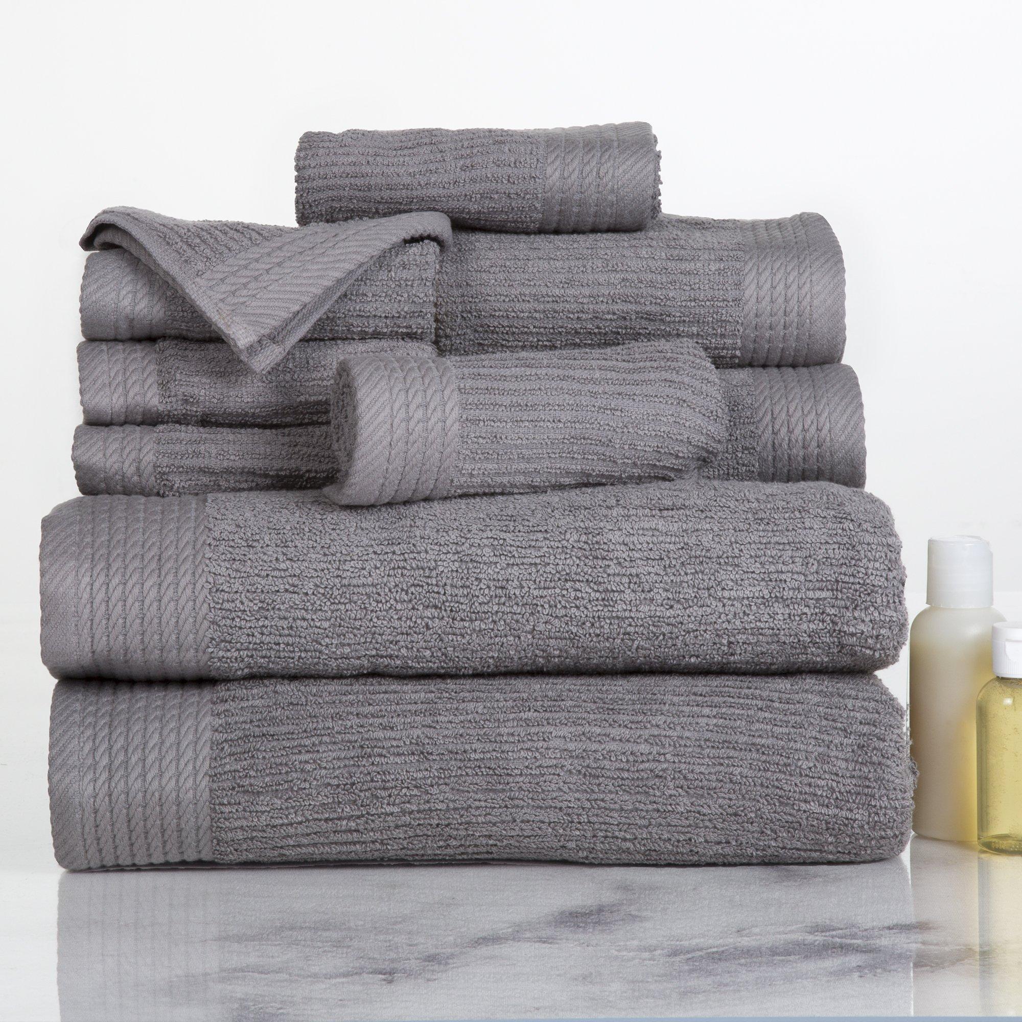 Lavish Home Ribbed 100% Cotton 10 Piece Towel Set - Silver