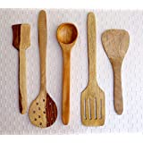 Kundi Handmade Wooden Serving and Cooking Spoon Kitchen Tools(5 Spoons)