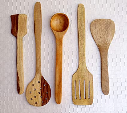 Pleasant Kundi Handmade Wooden Serving And Cooking Spoon Kitchen Tools 5 Spoons Download Free Architecture Designs Grimeyleaguecom