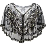 Metme 1920s Gatsby Theme Flapper Cover Ups Beaded Sequin Cape Evening Wraps For Women