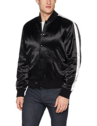 5ef2f31d4ef The Kooples Men's Men's Soft Bomber Jacket with Contrasting White Stripe on  Sleeve at Amazon Men's Clothing store: