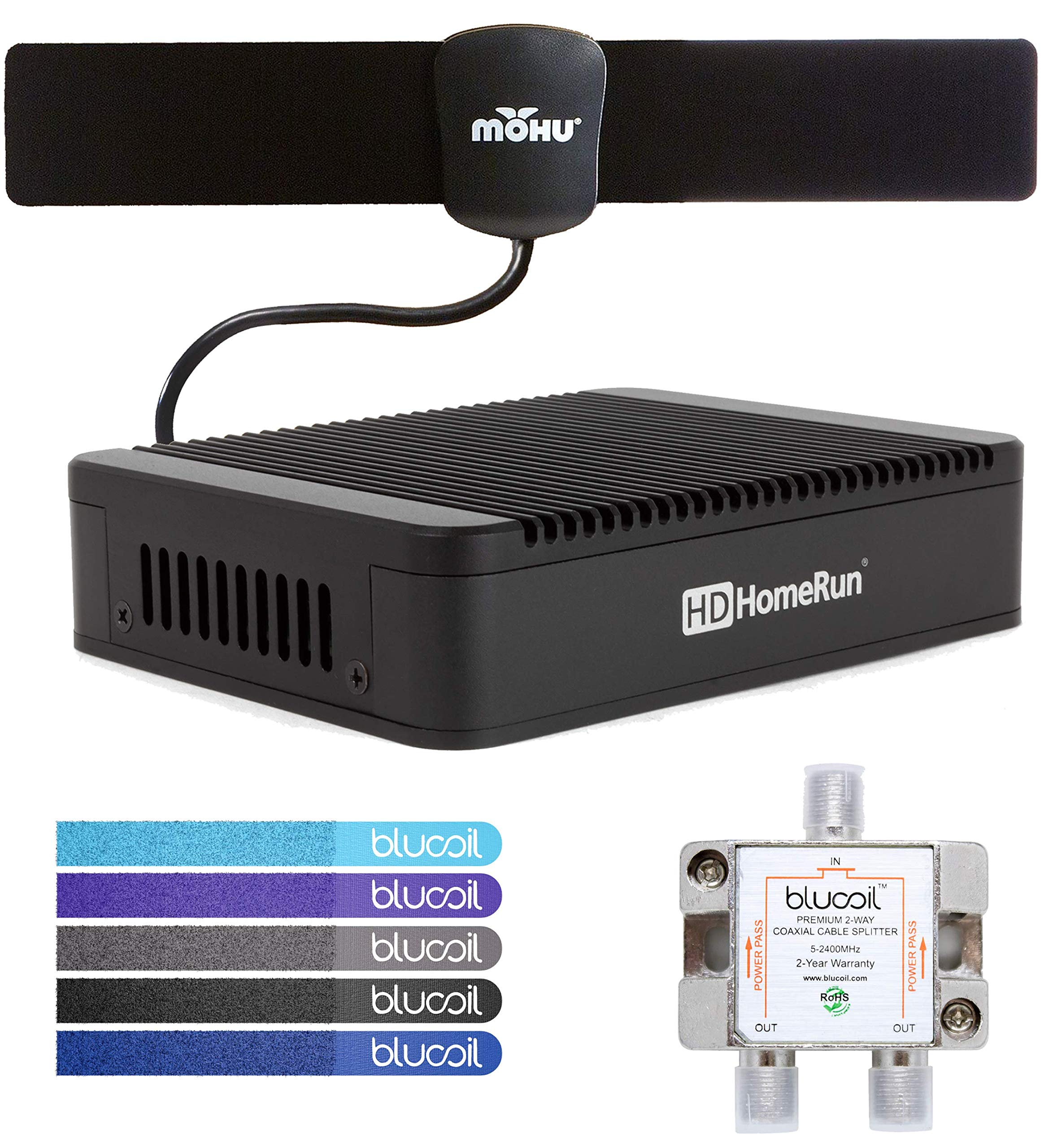 SiliconDust HDHomeRun Extend HDTC-2US-M Dual Tuner with H.264 Transcoder Bundle with Mohu 25 Mile Indoor HDTV Antenna, Blucoil 2-Way TV Coaxial Cable Splitter and 5-Pack of Reusable Cable Ties by Blucoil