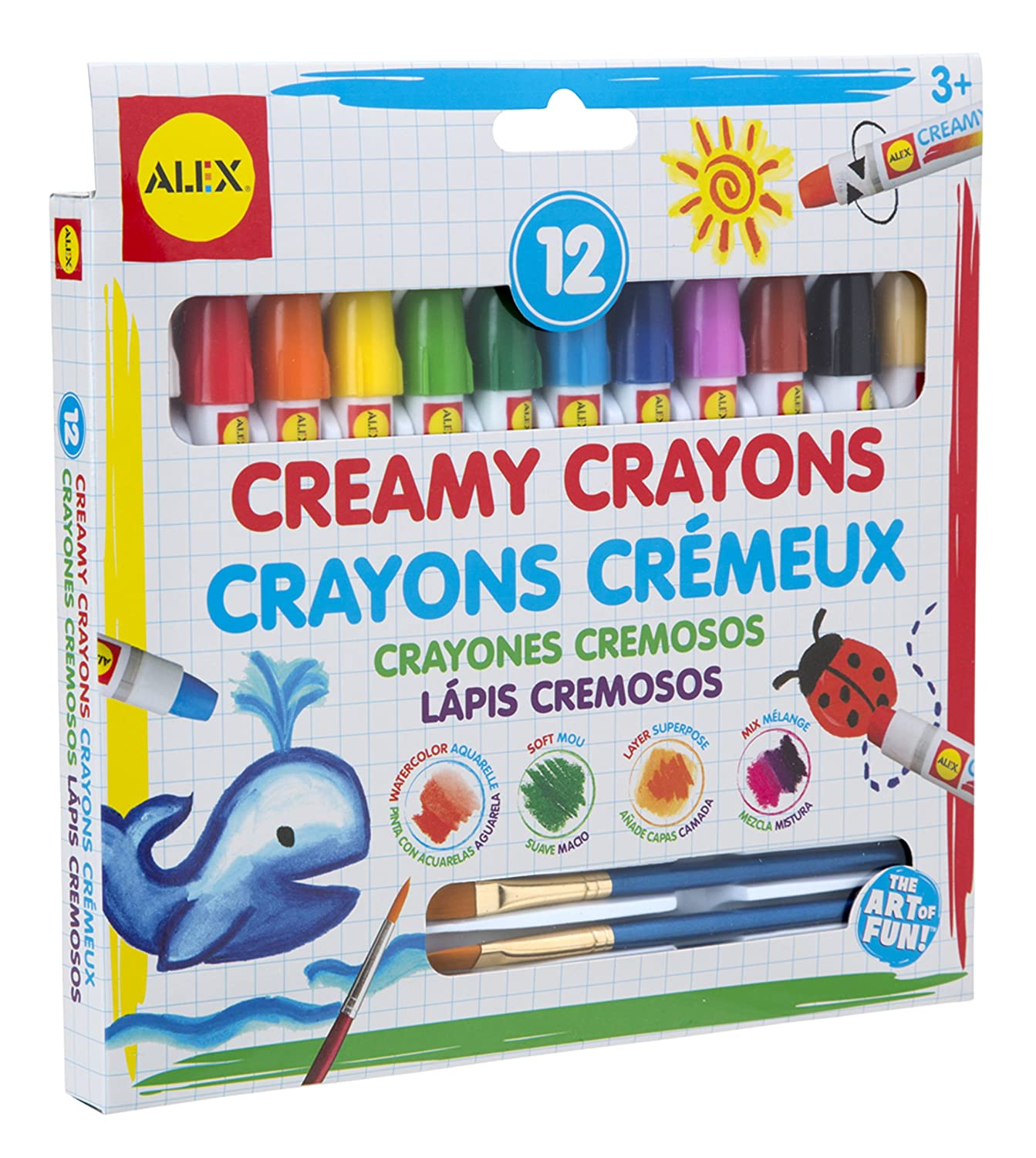 ALEX Toys Artist Studio 12 Creamy Crayons with Brushes 246N