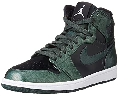 Nike Jordan Mens Air Jordan 1 Retro High Grove Green Black White Basketball  Shoe 12 Men US 3e06e151e