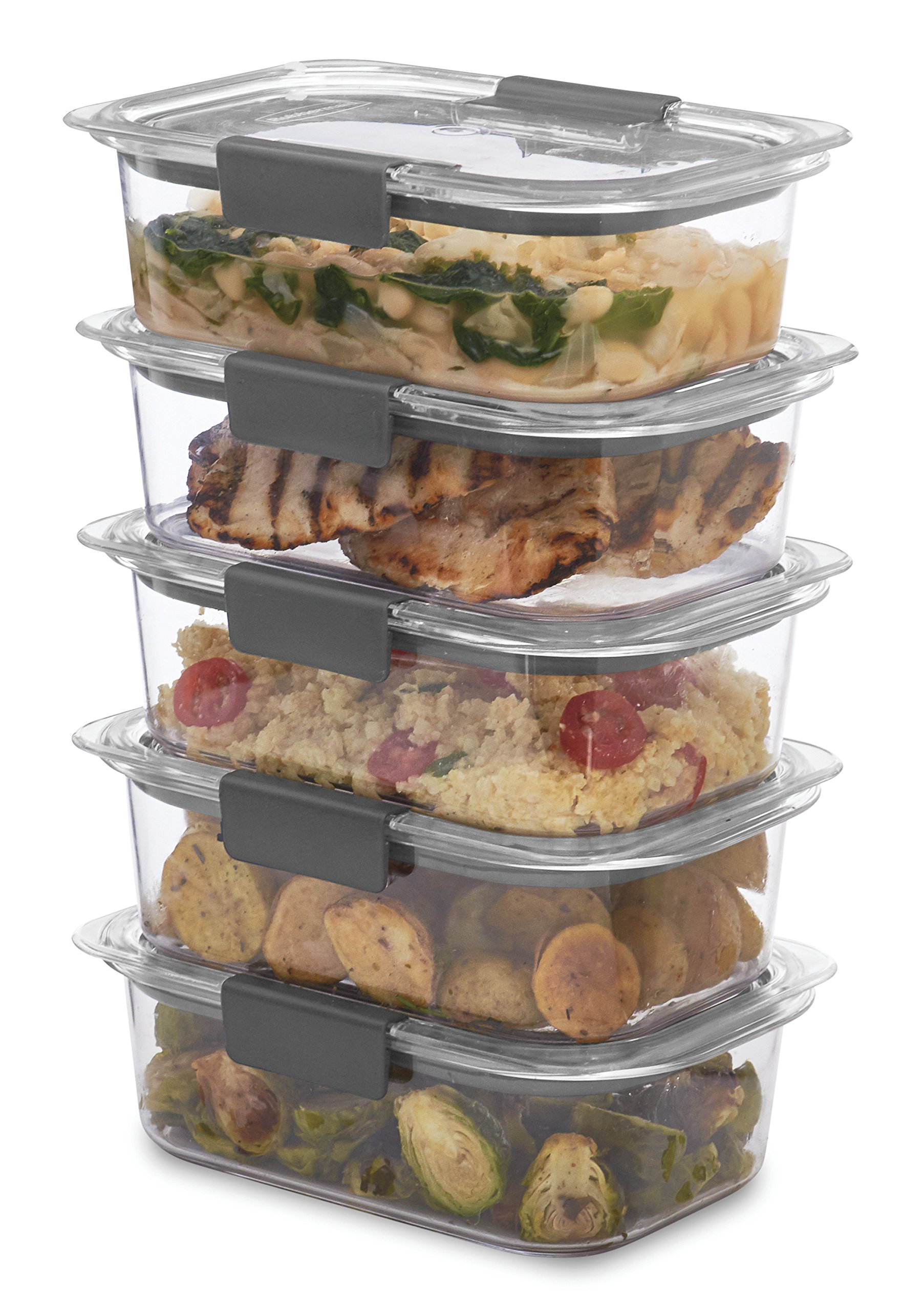 Rubbermaid Brilliance Food Storage Container, BPA-free Plastic, Medium, 3.2 Cup, 5-Pack, Clear by Rubbermaid (Image #3)