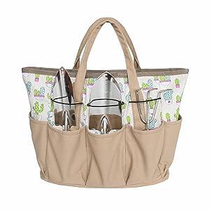 Outdoor Multi Pocket Gardening Tool Organizer Tote Bag Carrier (Cactus)