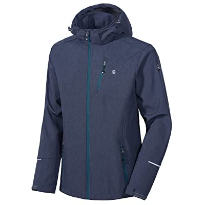 Little Donkey Andy Men's Softshell Jacket Ski Jacket with Removable Hood, Fleece Lined and Water Repellent: Sports & Outdoors