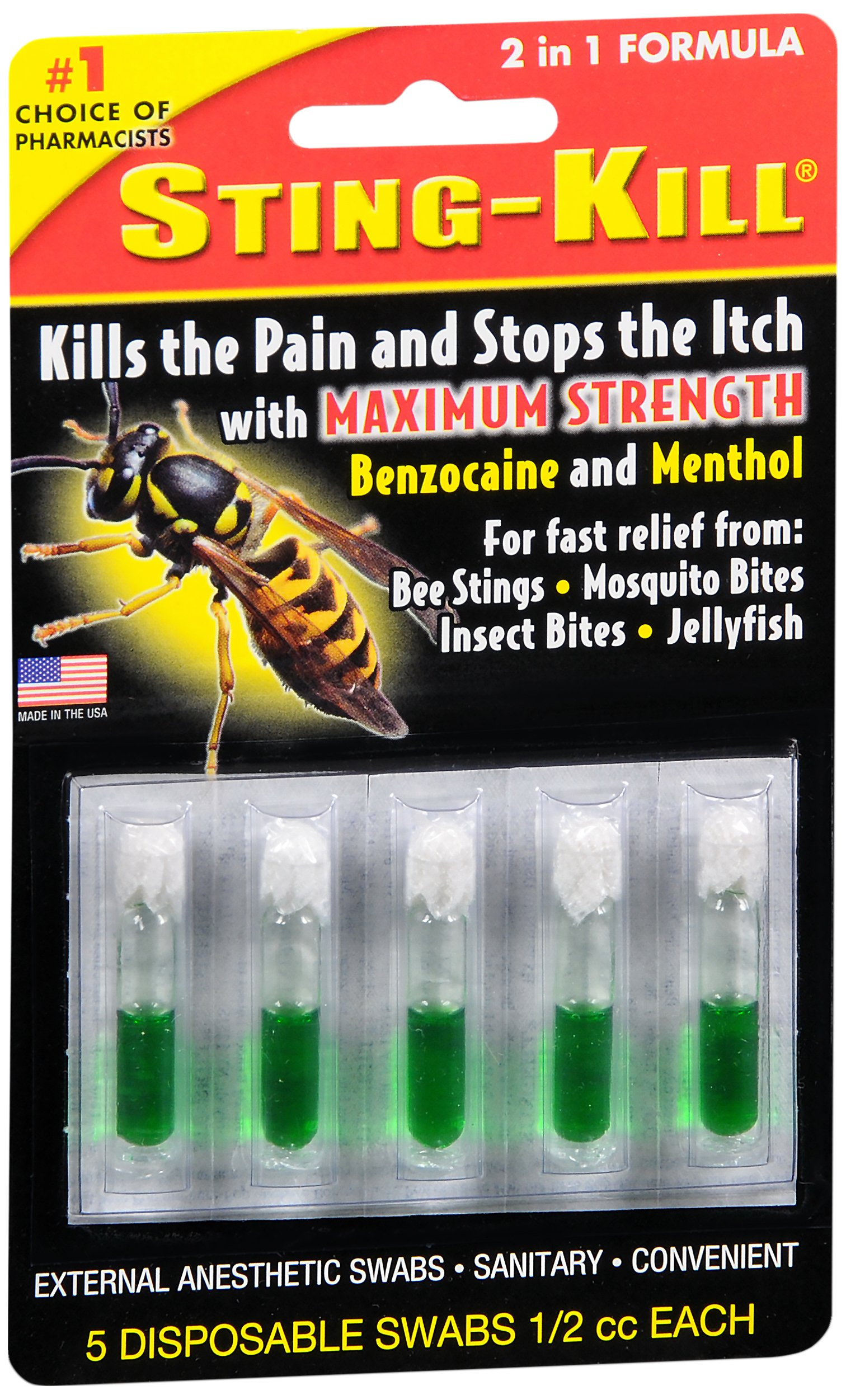 Special pack of 6 STING KILL DISPOSABLE SWABS 5 per pack by Sting-kill
