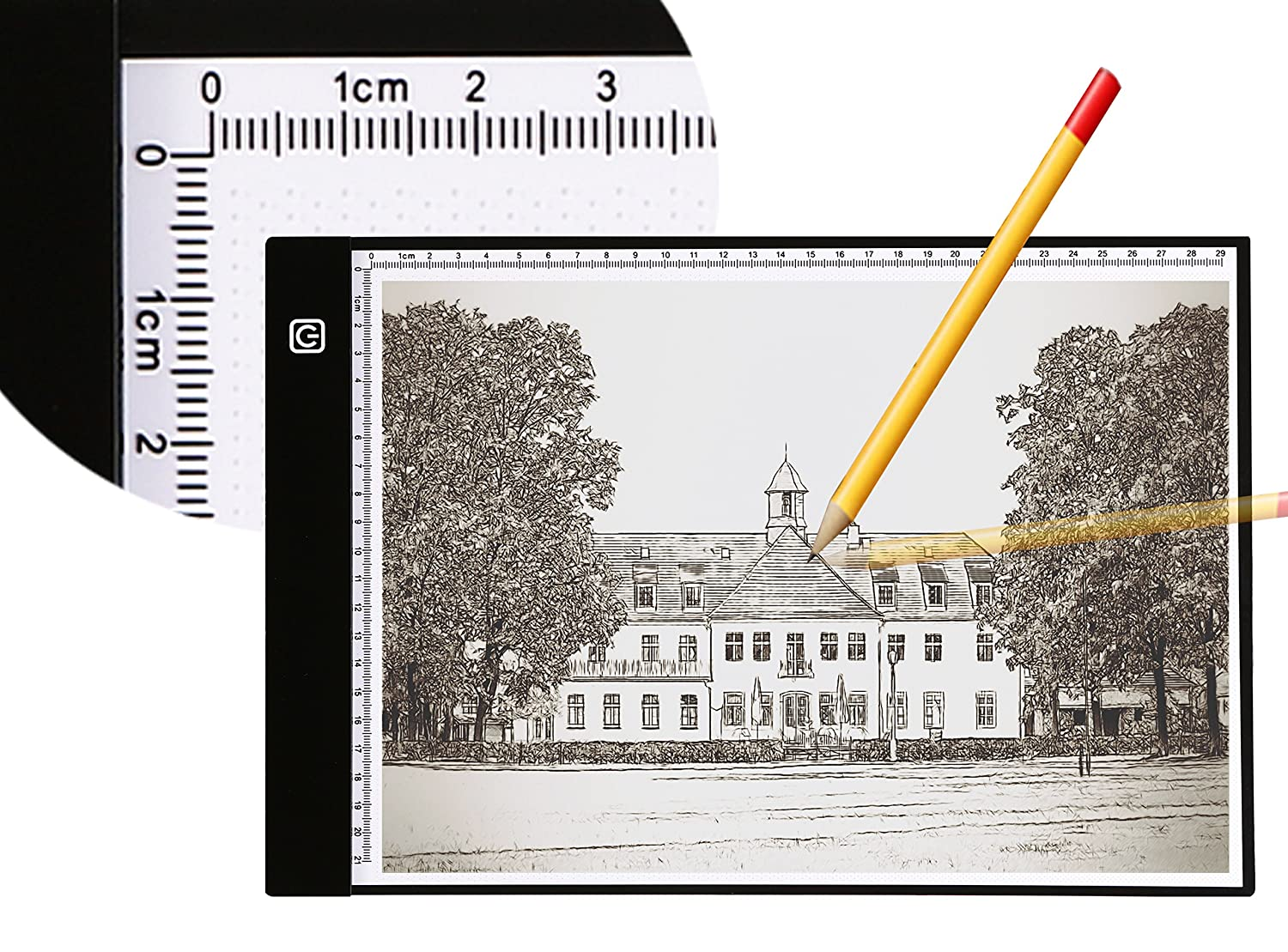 A4 Ultra-Thin Portable LED Light Box Tracer USB Power Cable Dimmable Brightness Artcraft Tracing Light Pad Light Box w Two Way Ruler forArtists Drawing Sketching Animation Designing Stencilling