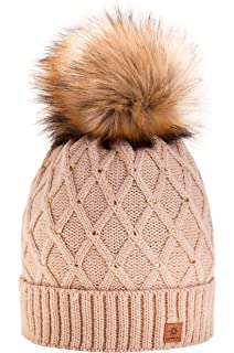 5f3b9a91a3079 MFAZ Morefaz Ltd Mujer Sombrero De Invierno Cristales Beanie Gran ...