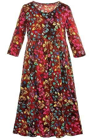 f458c9f3c07 Ulla Popken Women s Plus Size Autumnal Fall Empire Line Dress 711417 at  Amazon Women s Clothing store