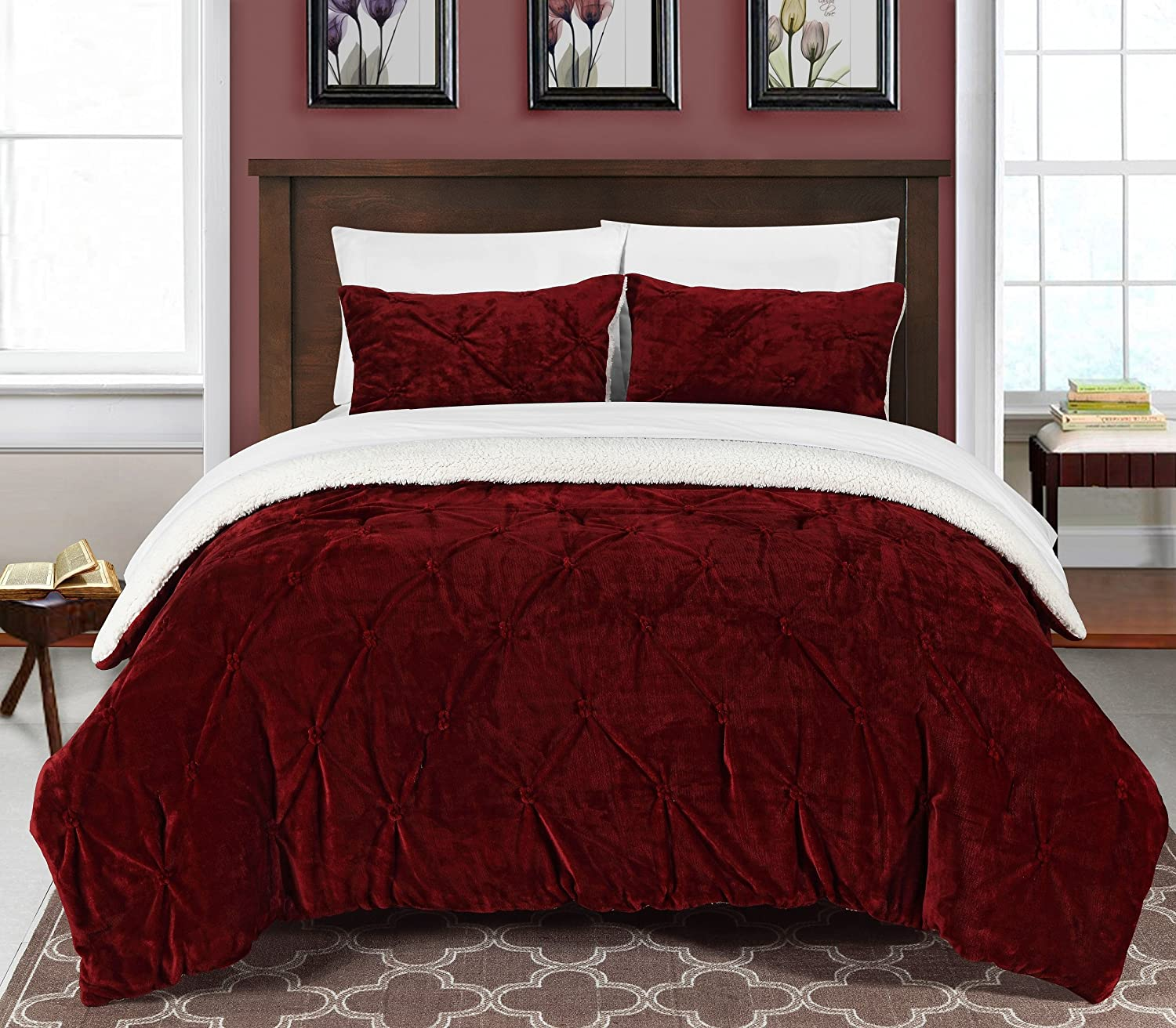 Chic Home 3 Piece Josepha Pinch Pleated Ruffled & Pintuck Sherpa Lined Comforter Set, King, Burgundy