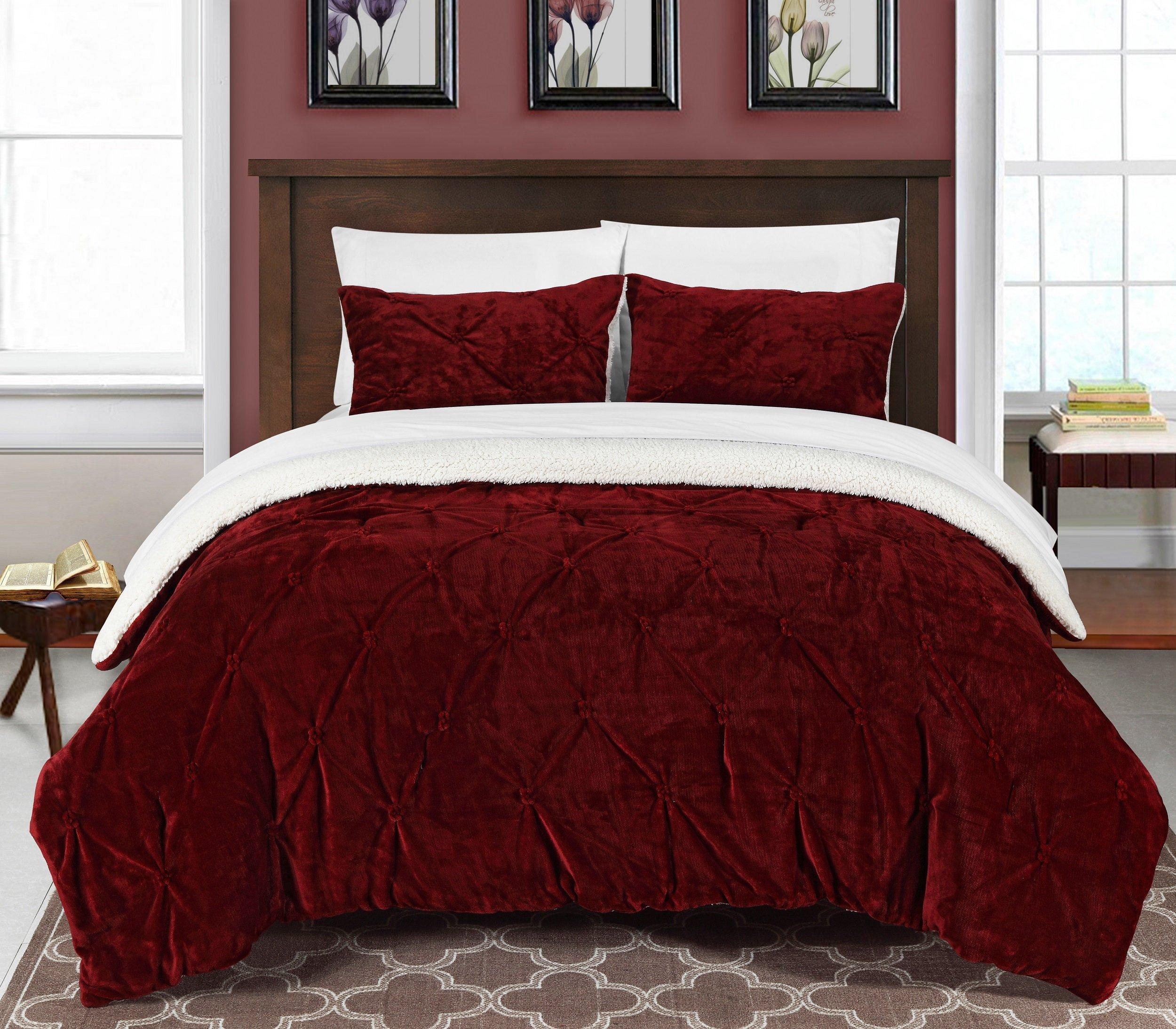 Chic Home 3 Piece Josepha Pinch Pleated Ruffled & Pintuck Sherpa Lined Comforter Set, Queen, Burgundy