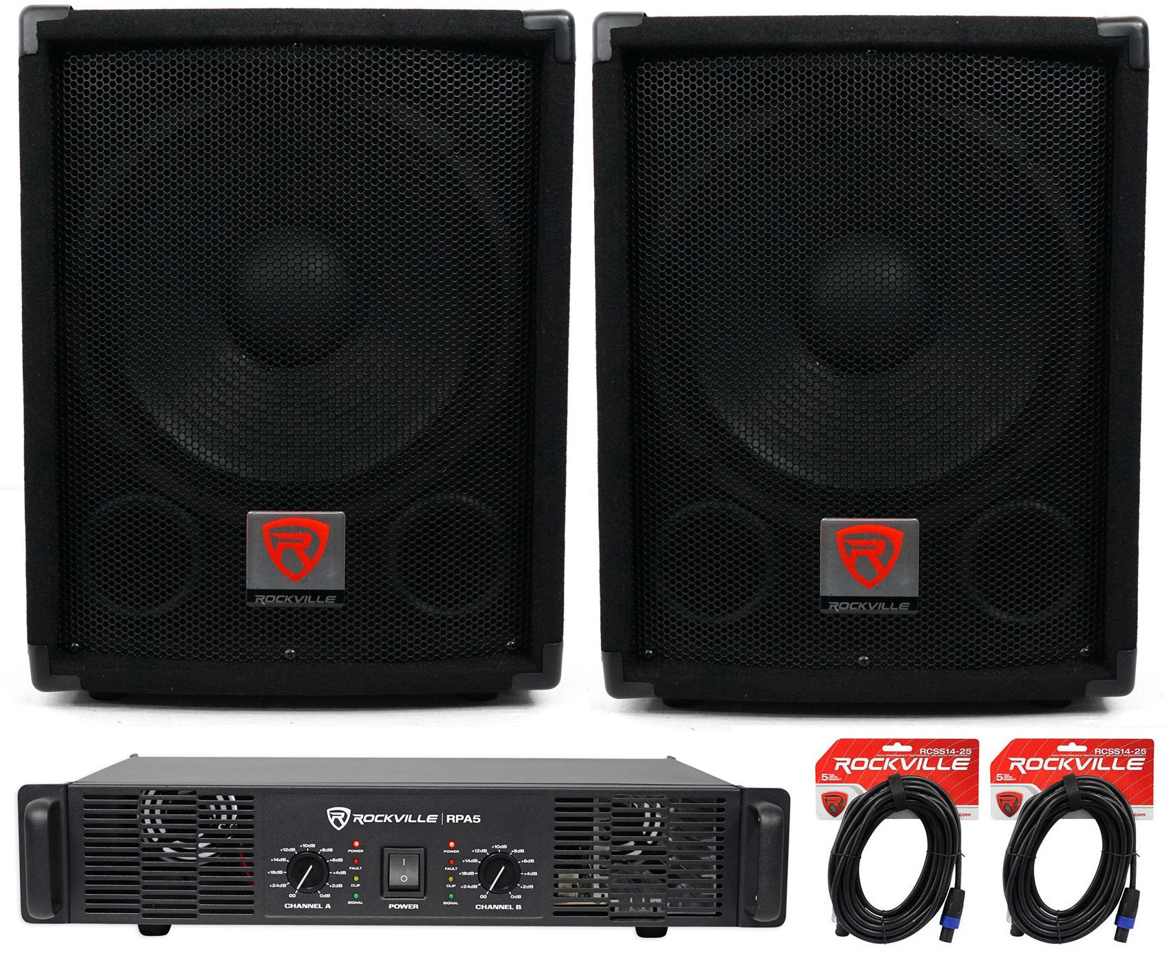(2) Rockville SBG1128 12'' 1200W Pro DJ Subwoofers + RPA4 1000w Amplifier+Cables