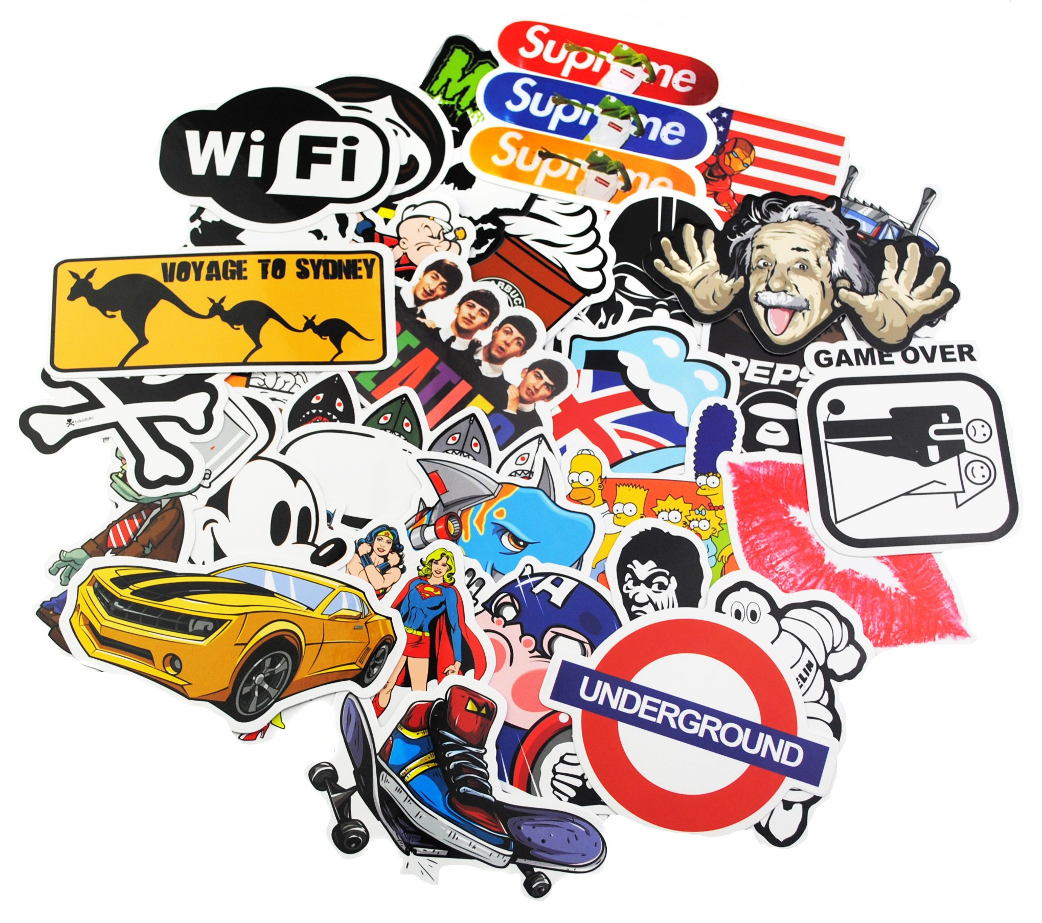 KONLOY Sticker Pack 200-Pcs Sticker Decals Vinyls for Laptop,Kids,Cars,Motorcycle,Bicycle,Skateboard Luggage,Bumper Stickers Hippie Decals bomb Waterproof (200Pcs)