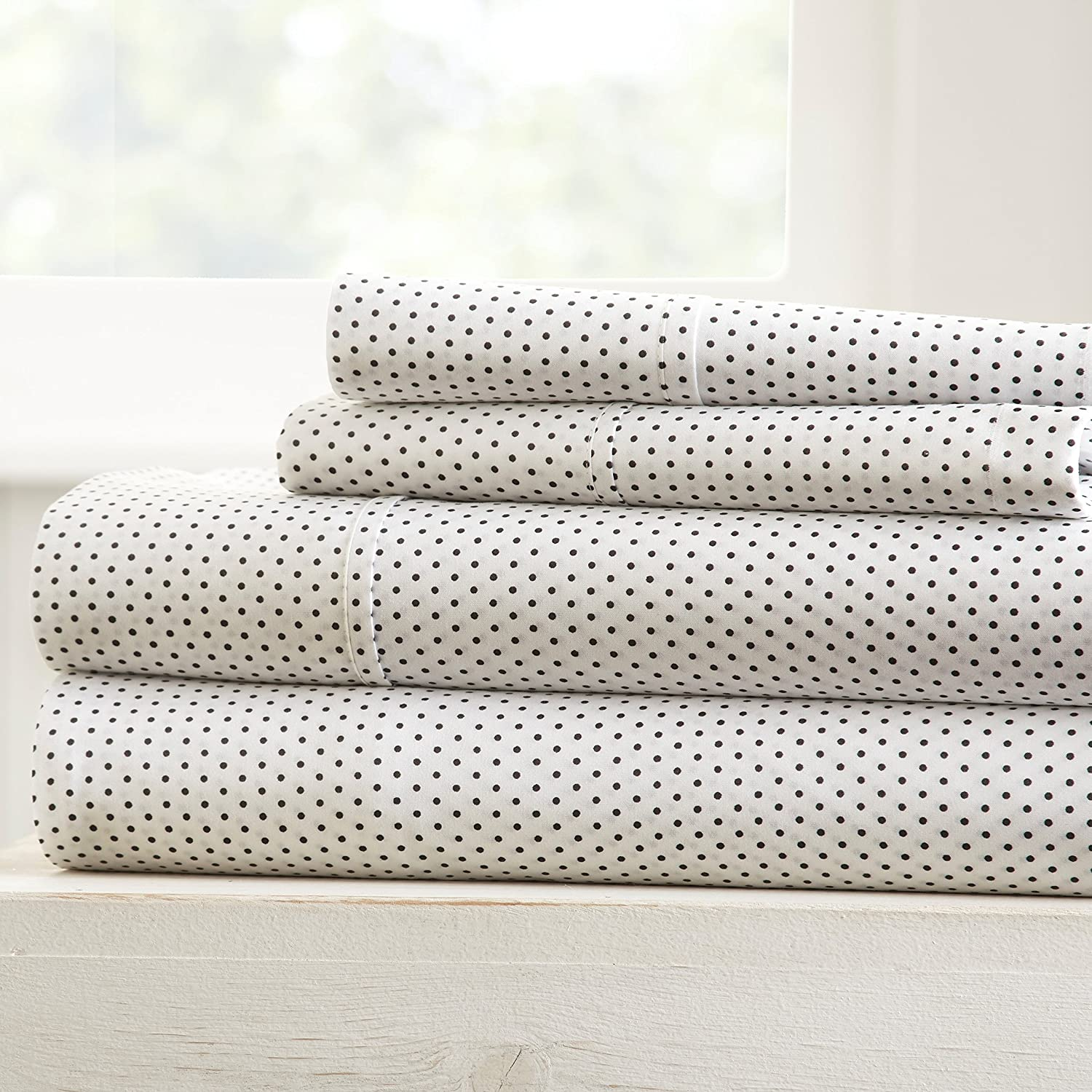 Becky Cameron Printed Stippled Patterned Quality 4 Piece Sheet Set, Queen, Gray