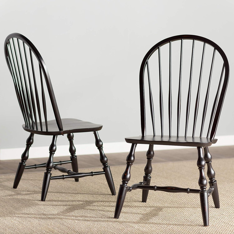 Sunset Trading Windsor Dining Chair Set, 41 , Antique Black
