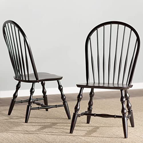 Sunset Trading Windsor Dining Chair Set, 41 , Antique Black