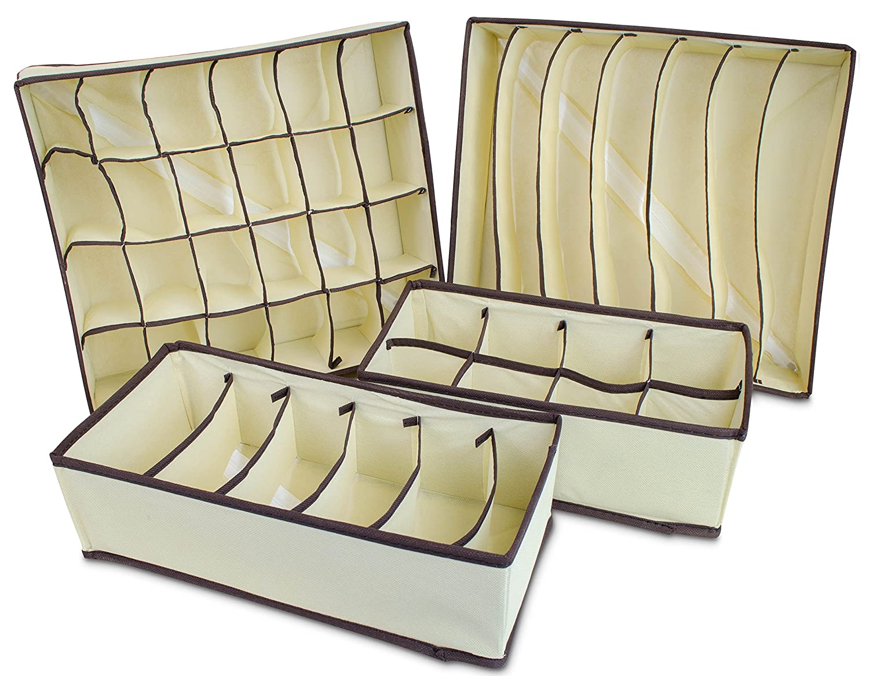 Schubladeneinsatz 4er Set für Kleiderschrank - Stoff Beige ...