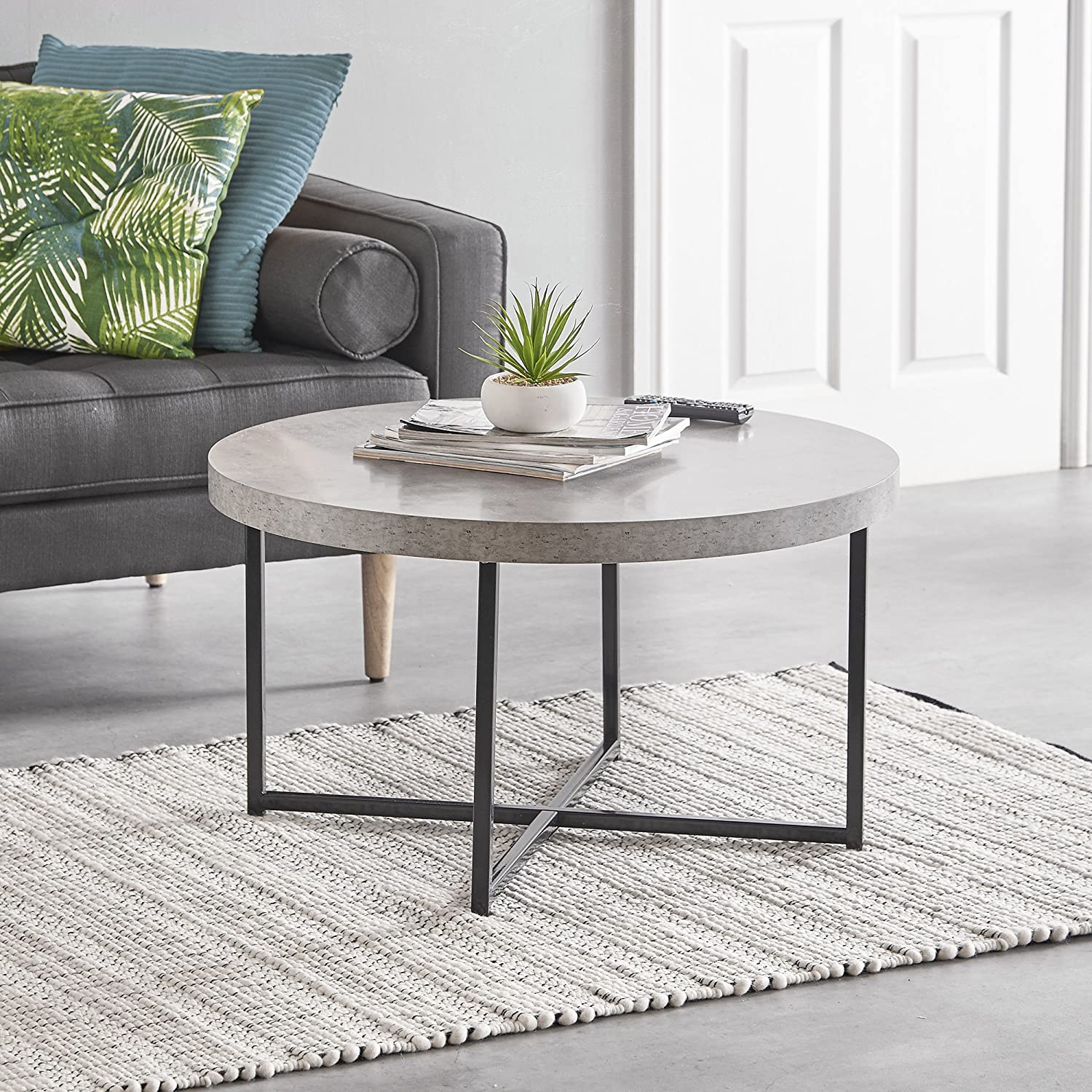 b8aa85f74cc497 VonHaus Concrete-Look Round Coffee Table 80cm Diameter - Modern Lightweight  Metal-Effect Furniture - for Bedside/Hallway/Living Room: Amazon.co.uk:  Kitchen ...