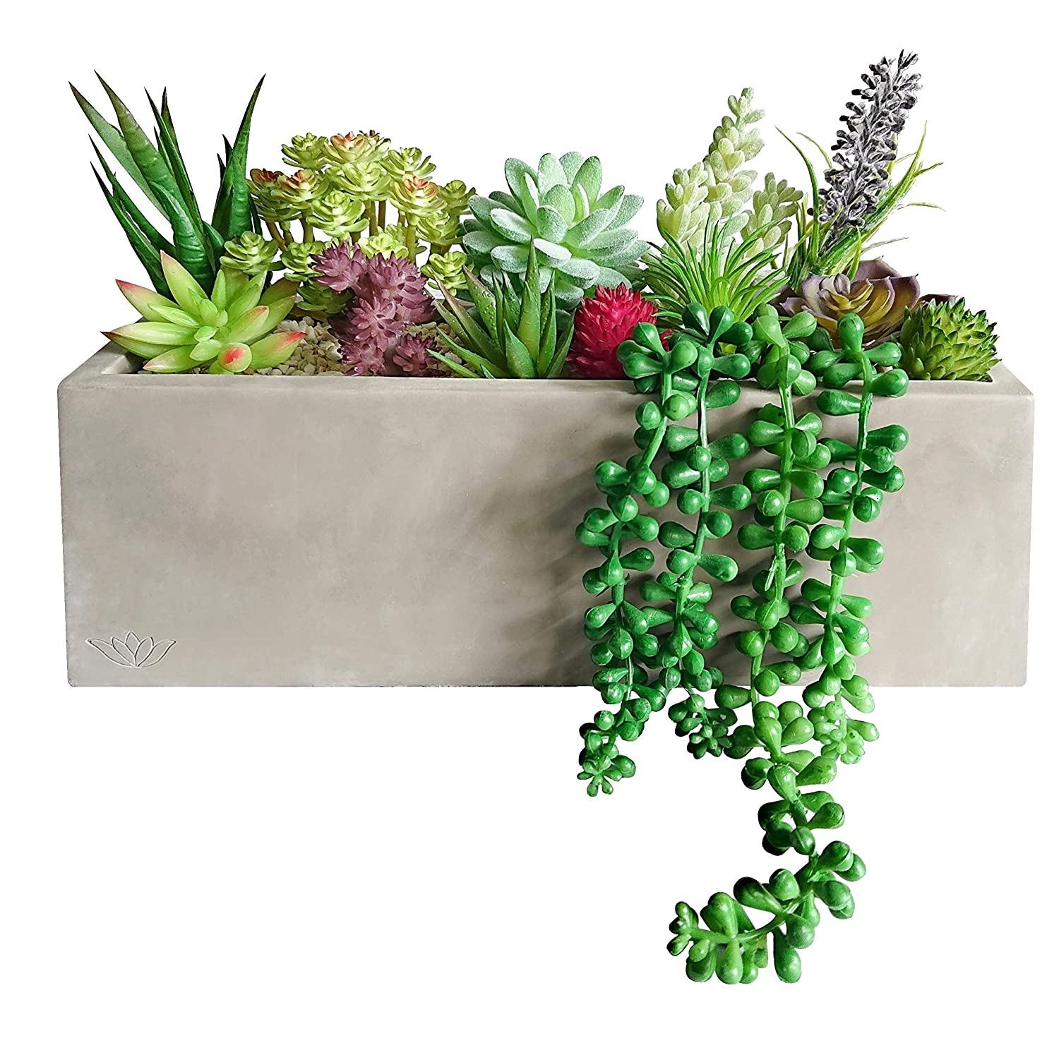 GreenBoxx Artificial Succulent Planter Arrangement Set - Faux Succulents, Cement Box and Pebbles - Indoor and Outdoor Decorative Fake Plants for Home Table Centerpiece, Window Display, Wedding Décor