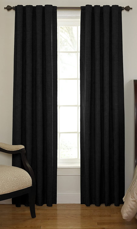 Amazon: Beautyrest 11239042x108bk Chenille 42inch By 108inch Rod  Pocket Single Window Curtain Panel, Black: Home & Kitchen