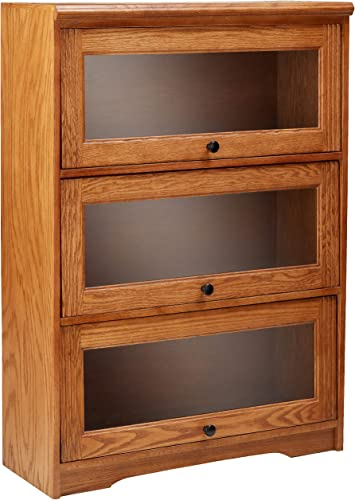 Eagle Oak Ridge 3 Door Lawyer Bookcase, 32 Wide, Medium Oak Finish