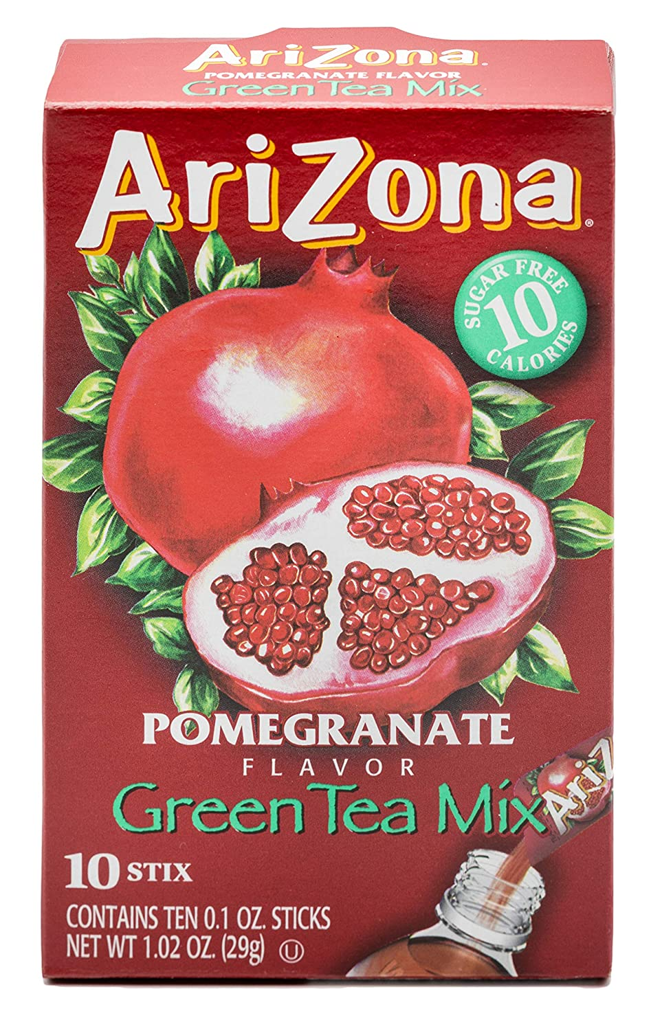 AriZona Pomegranate Green Tea Iced Tea Stix Sugar Free, Low Calorie Single Serving Drink Powder Packets, Just Add Water for a Deliciously Refreshing Iced Tea Beverage, 10 Count per box, Pack of 6