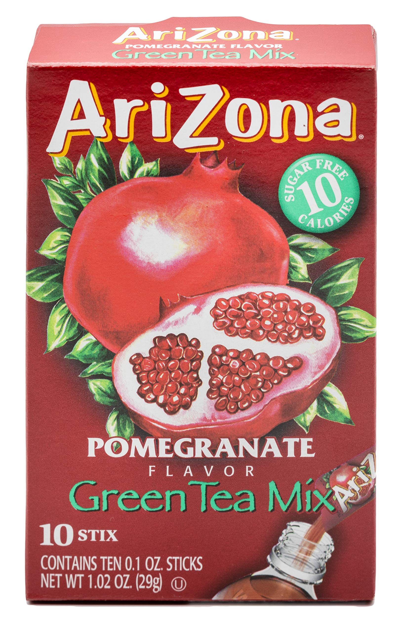 Arizona Green Tea Pomegranate Iced Tea Stix Sugar-Free, 10 Count Per Box (Pack of 12), Low Calorie Single Serving Drink Powder Packets, Just Add Water for a Refreshing Iced Tea