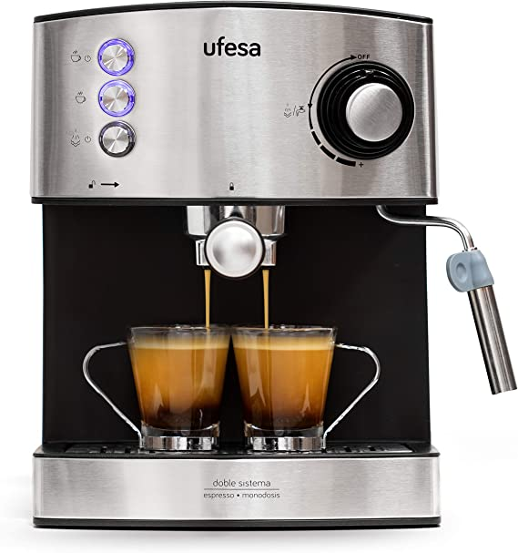 Ufesa CE7240-Cafetera Espresso, 850W, Depósito extraíble de 1,6 l, 20 Bares, Doble opción de preparación de café: Sist Cafetera, 2 Cups, Acero Inoxidable, Negro/Plata: Amazon.es: Hogar