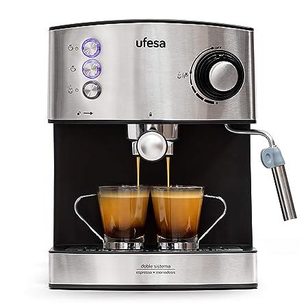 Ufesa CE7240-Cafetera Espresso, 850W, Depósito extraíble de 1,6 l, 20 Bares, Doble opción de preparación de café: Sist Cafetera, Acero Inoxidable, ...