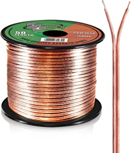 50ft 16 Gauge Speaker Wire - Copper Cable in Spool for Connecting Audio Stereo to Amplifier, Surround Sound System, TV Home Theater and Car Stereo - Pyramid RSW1650,BLACK
