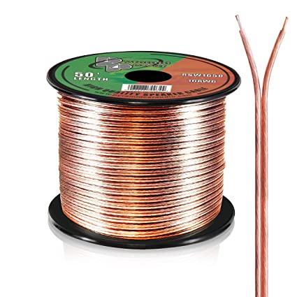 50ft 16 Gauge Speaker Wire - Copper Cable in Spool for Connecting Audio Wiring Stereo on