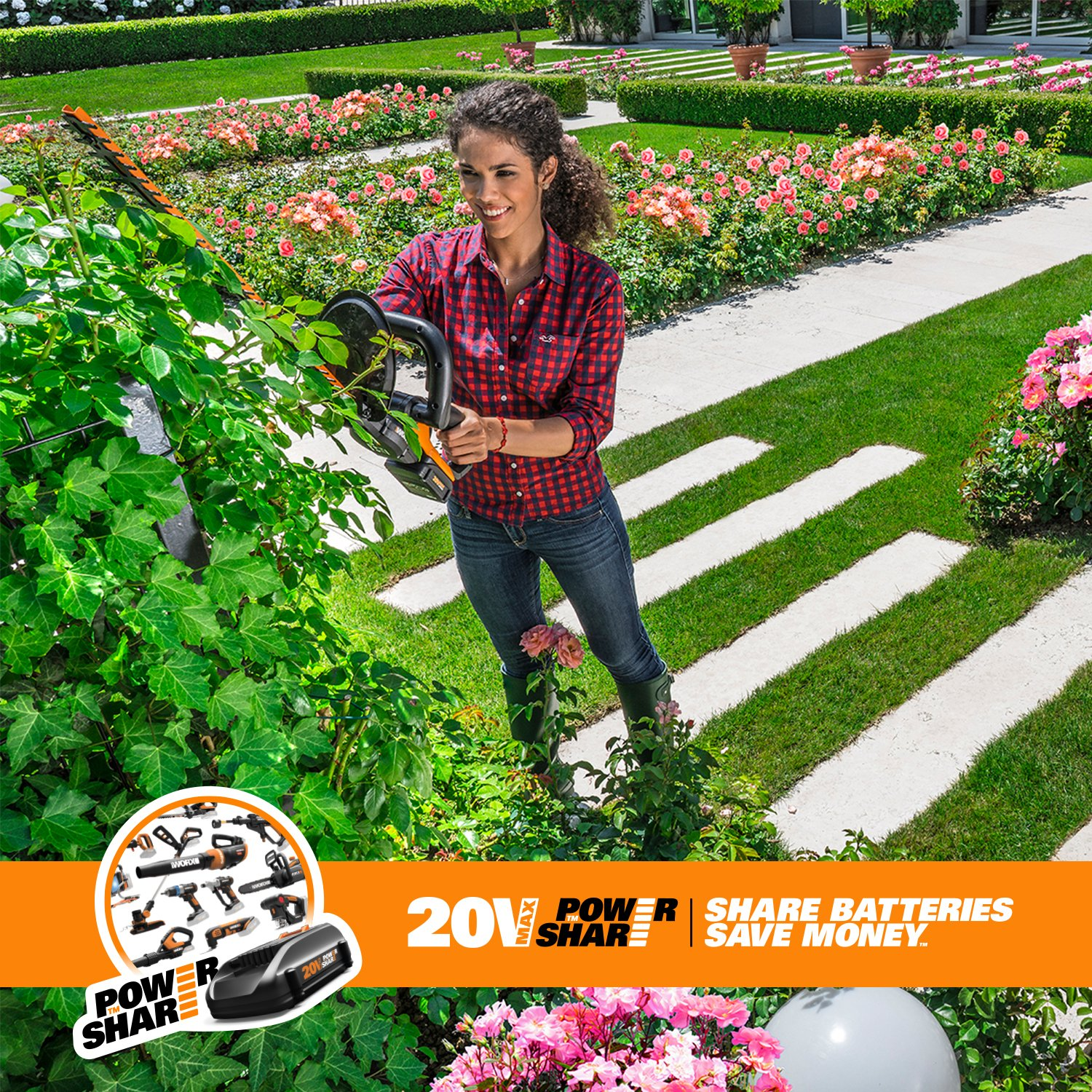WORX WG255.1 20-Inch 20-Volt MAX Lithium Cordless Hedge Trimmer