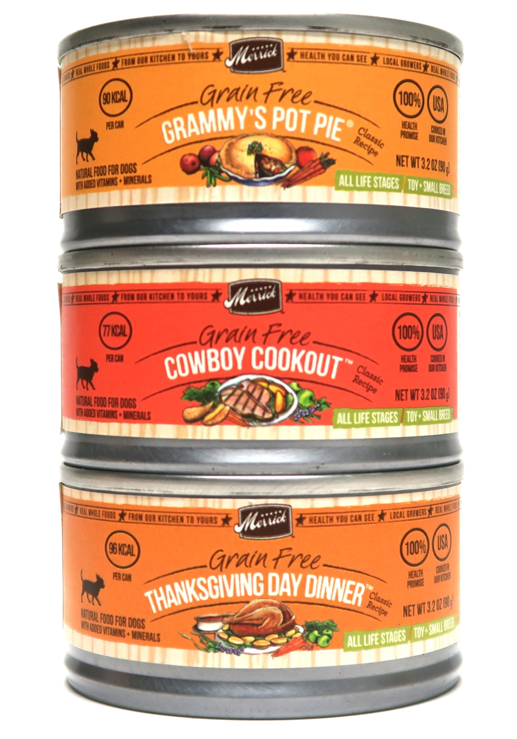 Merrick Grain Free Canned Dog Food Variety Bundle - 3 Flavors (Thanksgiving Day Dinner, Grammy's Pot Pie, and Cowboy Cookout) - 3 Ounces Each (12 Total Cans - 4 of Each Flavor)