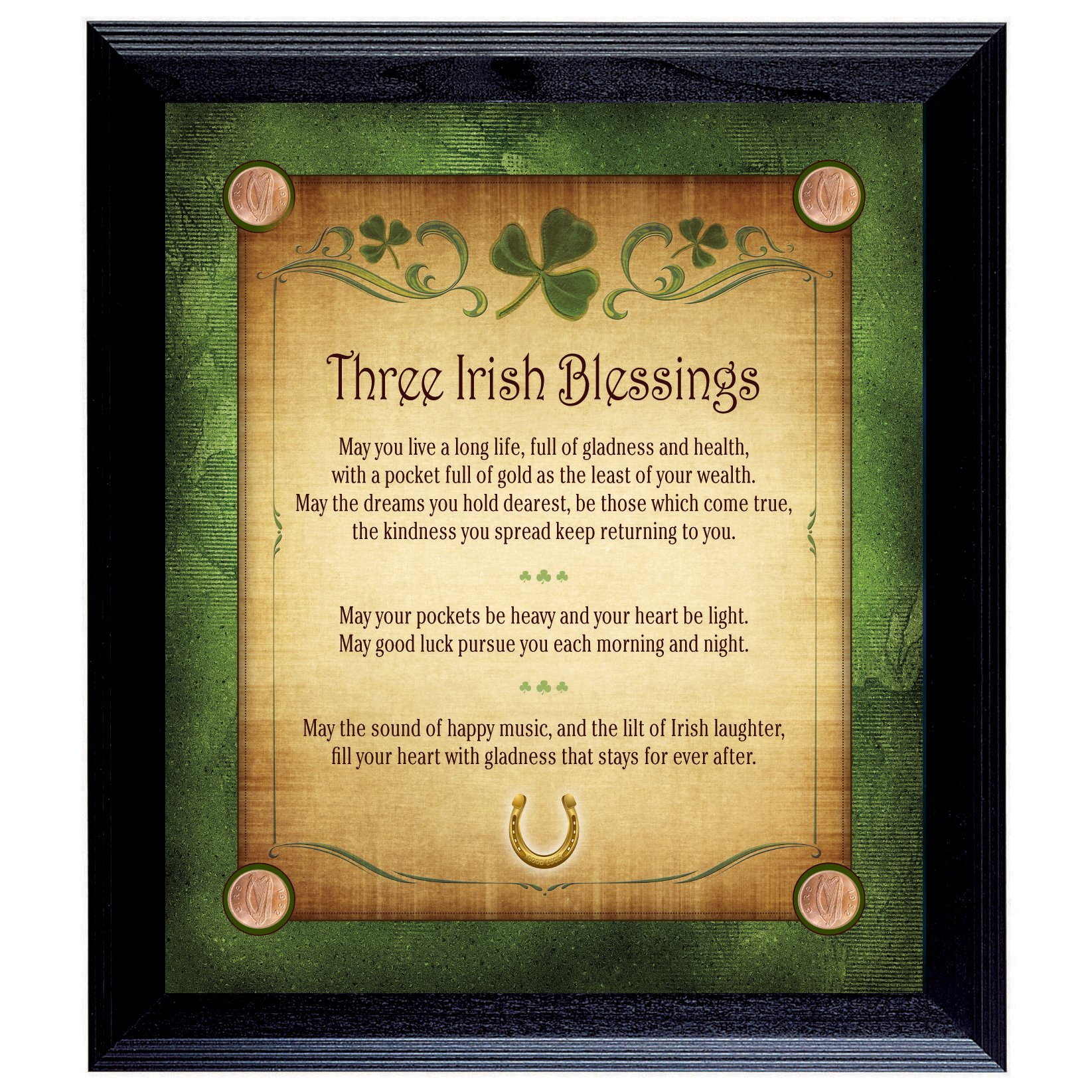 American Coin Treasures Three Irish Blessings with 4 Lucky Irish Pennies Wall Frame