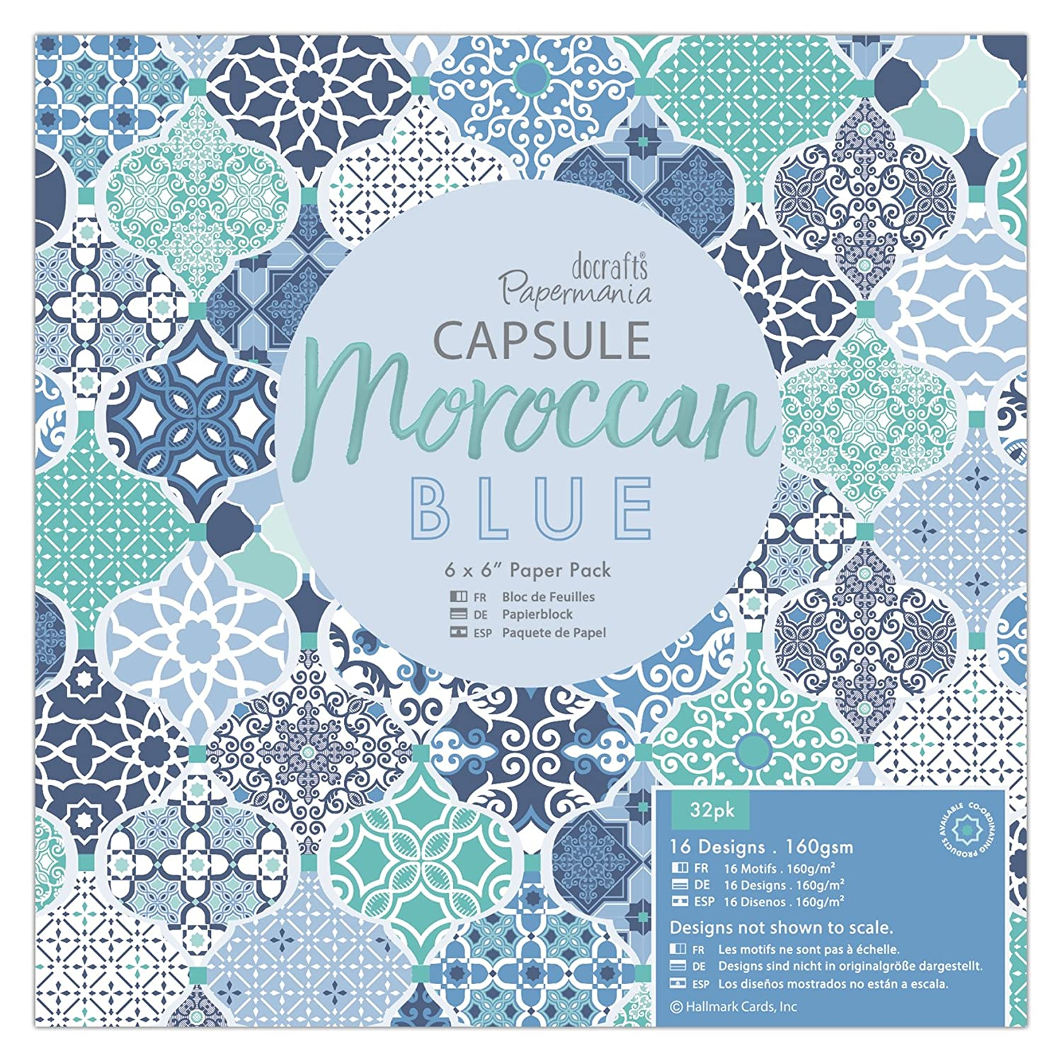 Papermania Capsule Pack of 16 Vellum and Laser Cut Pack Blue Paper 36 x 22 x 0.3 cm