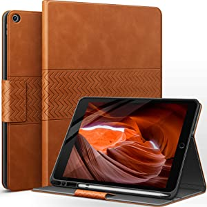 auaua iPad 8th Generation Case/iPad 7th Generation Case with Pencil Holder Vegan Leather Auto Sleep/Wake Smart Cover for iPad 10.2 Inch (Brown)