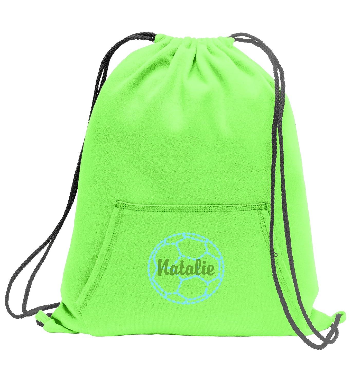 Personalizedサッカー – スウェットシャツCinch Bag with Front Pocket B01LYL8OHB ネオングリーン ネオングリーン