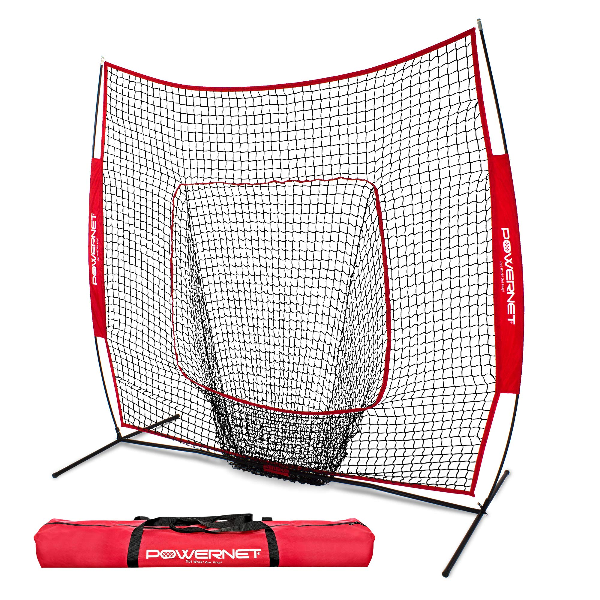 PowerNet Baseball and Softball Practice Net 7 x 7 with bow frame by PowerNet (Image #1)